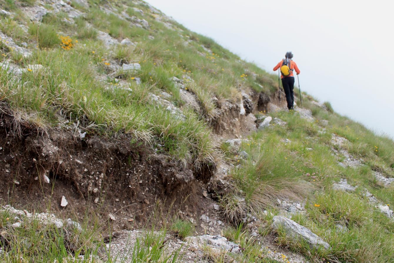 12- La scarpata cosismica continua per altri 500 metri nel versante sud di Monte Bove Sud in direzione di Passo Cattivo.