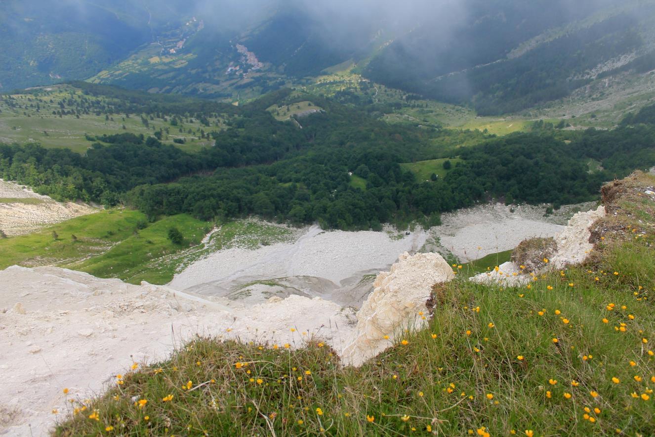 24- Veduta verticale sotto alle pareti di Passo Cattivo con le grandi conoidi detritiche prodotte dalle tre frane fermate dal bosco sottostante, sullo sfondo l'abitato di Macchie di Vallinfante.