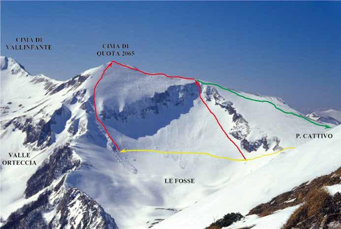 """85 La zona denominata """"Le Fosse"""" vista da Forca Cervara con gli itinerari di salita descritti"""
