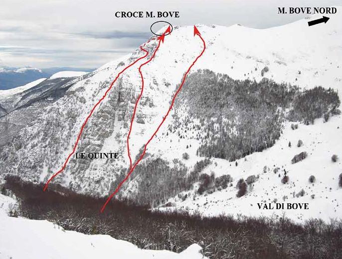 95 Tracciato degli itinerari alla croce di M. Bove visti dalla cresta per la F. Passaiola
