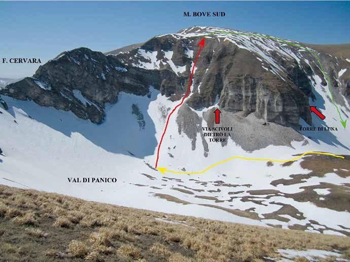 100 Il tracciato dell'itinerario visto da Fonte Vipera – versante ovest Pizzo Berro
