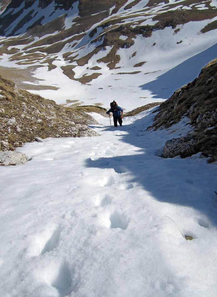 102 L'uscita del canale di salita, in fondo la Val di Panico