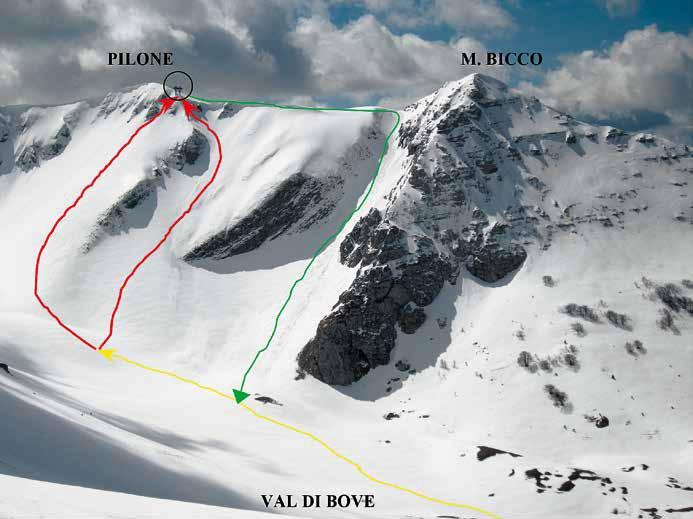 106 Gli itinerari di salita visti dalla Croce di Monte Bove