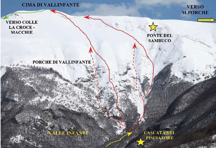 108 Gli itinerari di salita visti dalla strada per il camping M. Prata